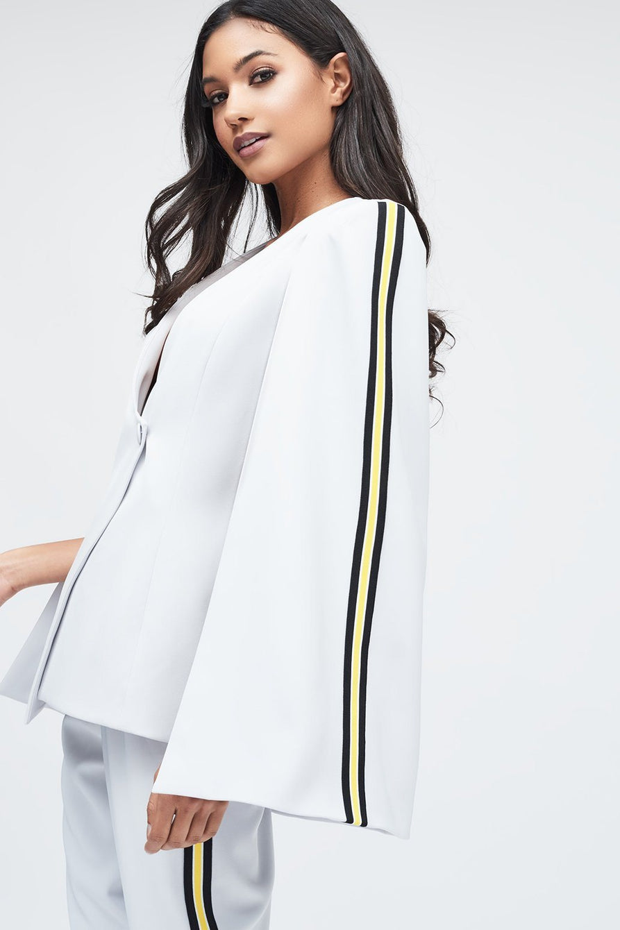 Fitted Cape Blazer with Sports Stripe