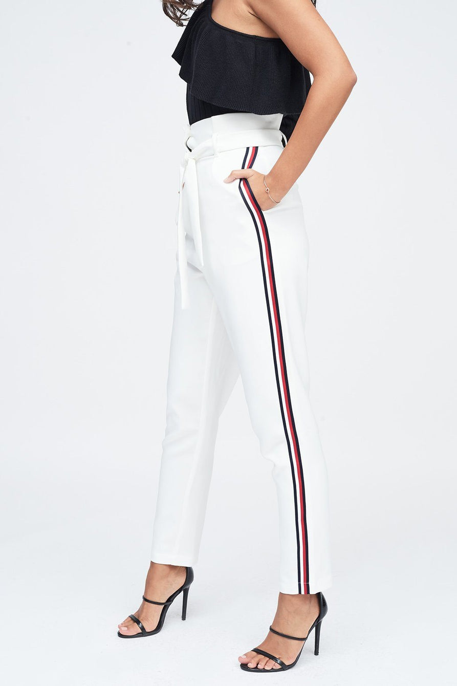 Pleated Waist Cropped Trouser with Sports Stripe