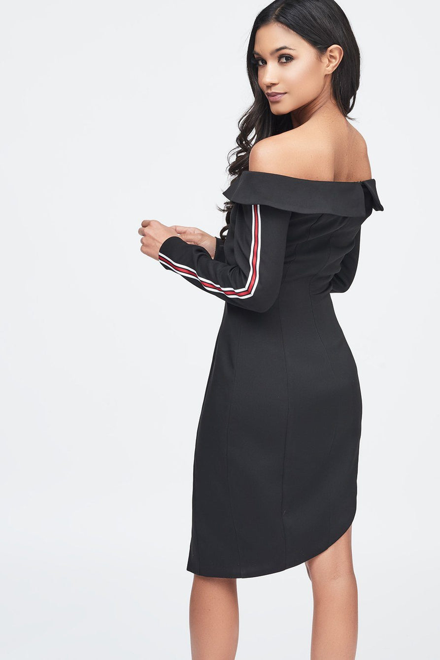 Black Off The Shoulder Asymmetric Tuxedo Mini Dress