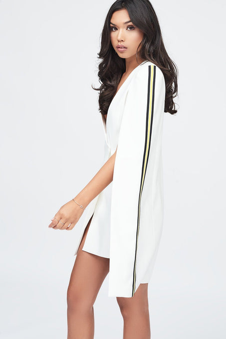 Tuxedo Cape Mini Dress with Sports Side Stripe