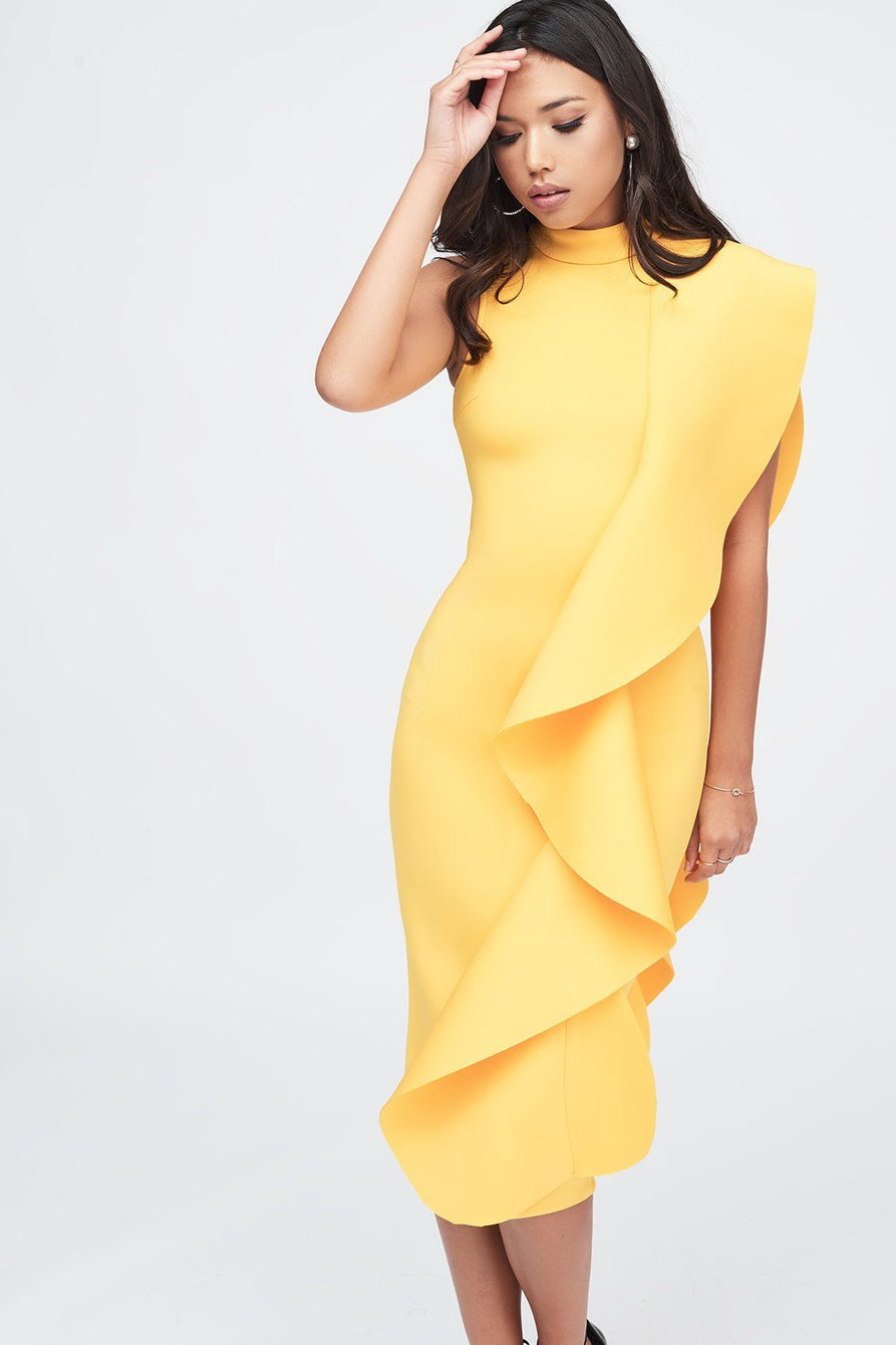 Yellow Signature Multi Scuba Frill Midi Dress