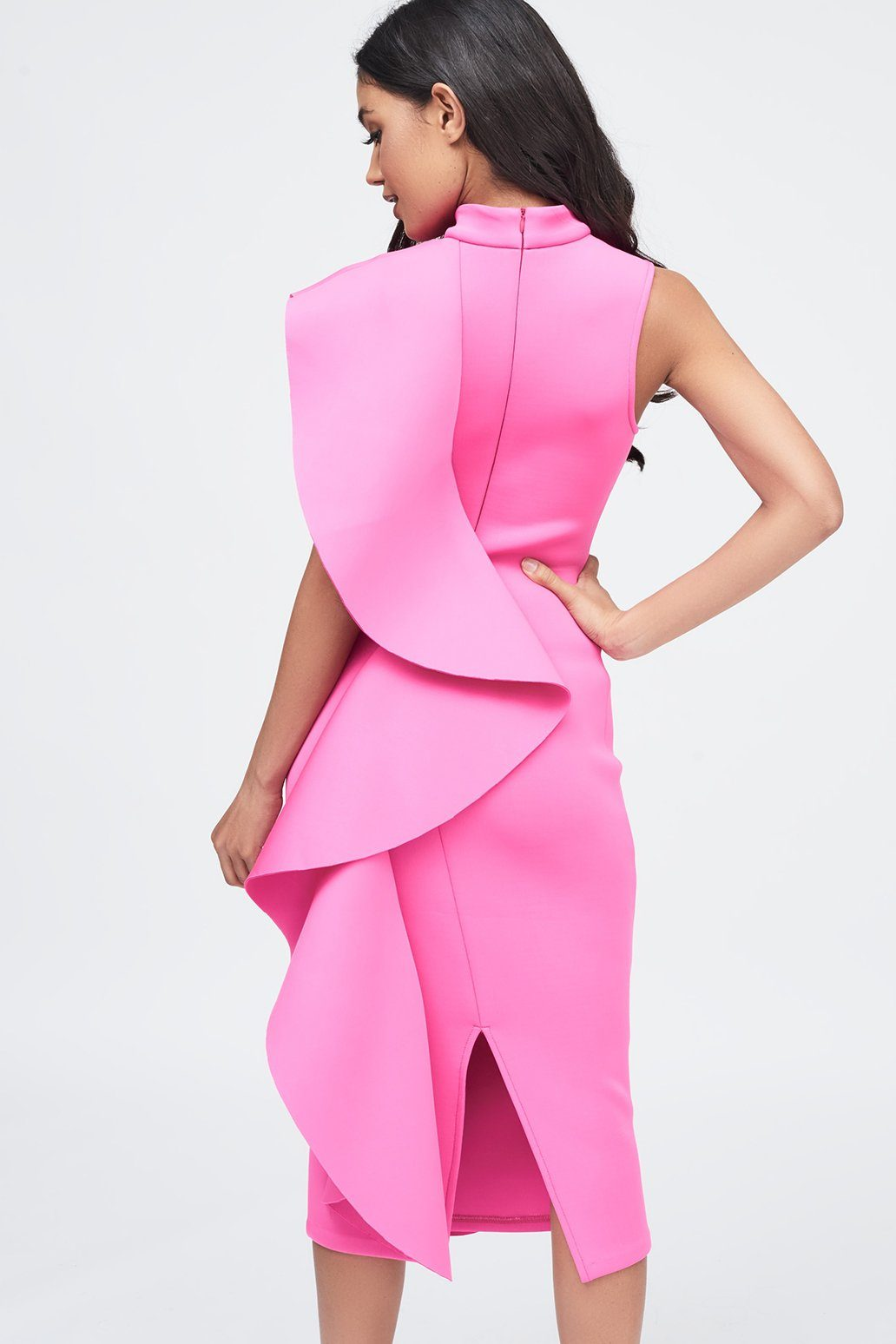 Pink Signature Multi Scuba Frill Midi Dress