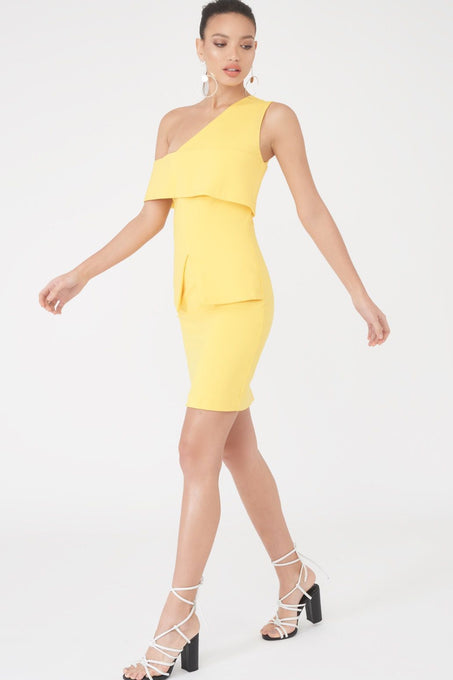 Asymmetric Cold Shoulder Mini Dress in Yellow