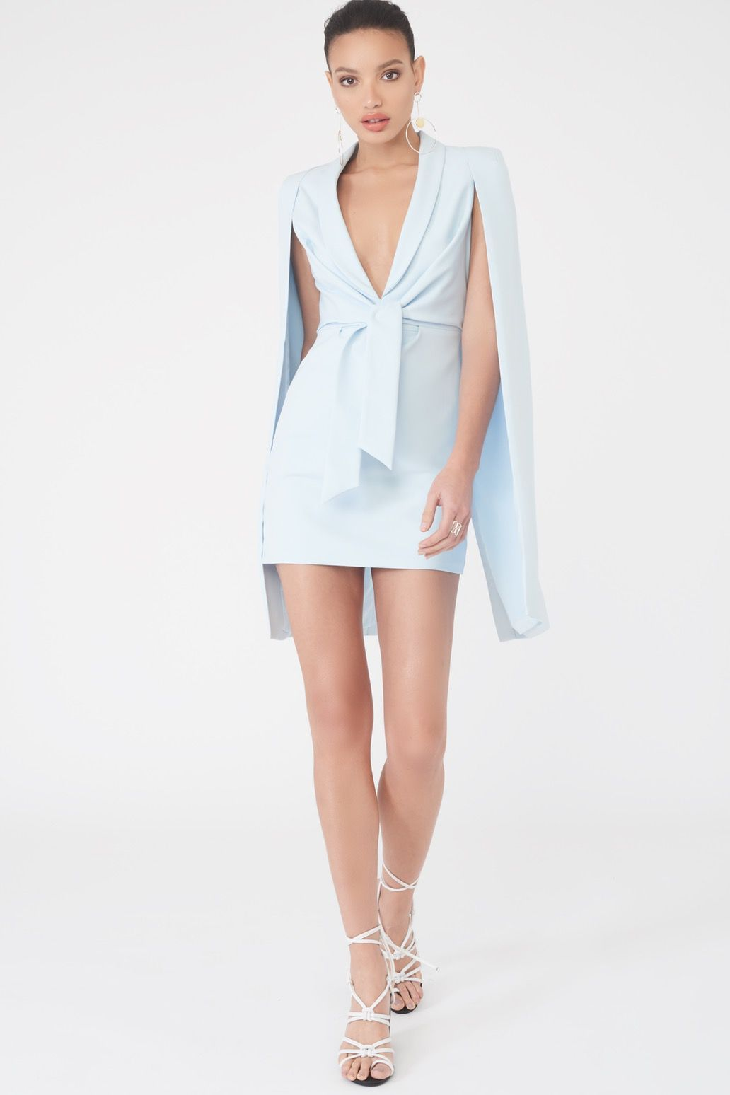 Gathered Tie Waist Cape Dress