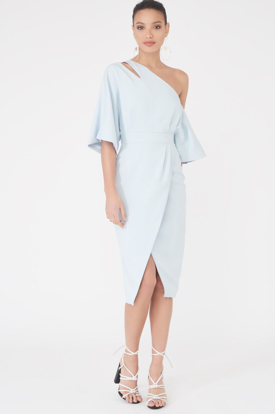 One Shoulder Kimono Midi Dress in Ice Blue
