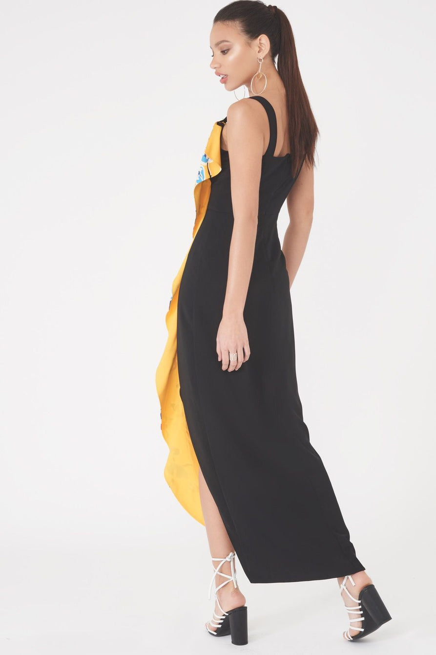 Frill Detail Colour Maxi Dress in Yellow Floral
