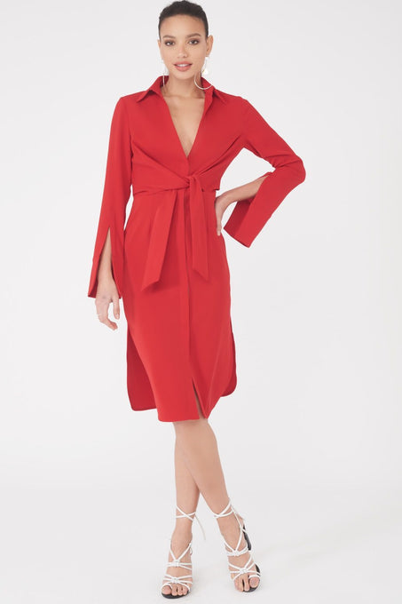 Gathered Tie Waist Shirt Dress in Red