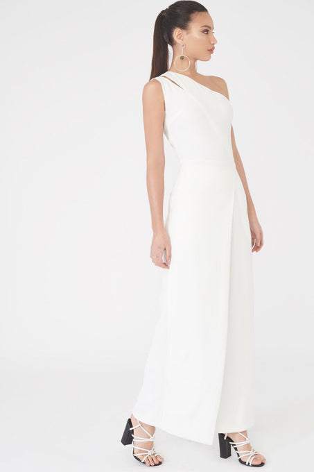 One Shoulder Split Wide Leg Jumpsuit in White
