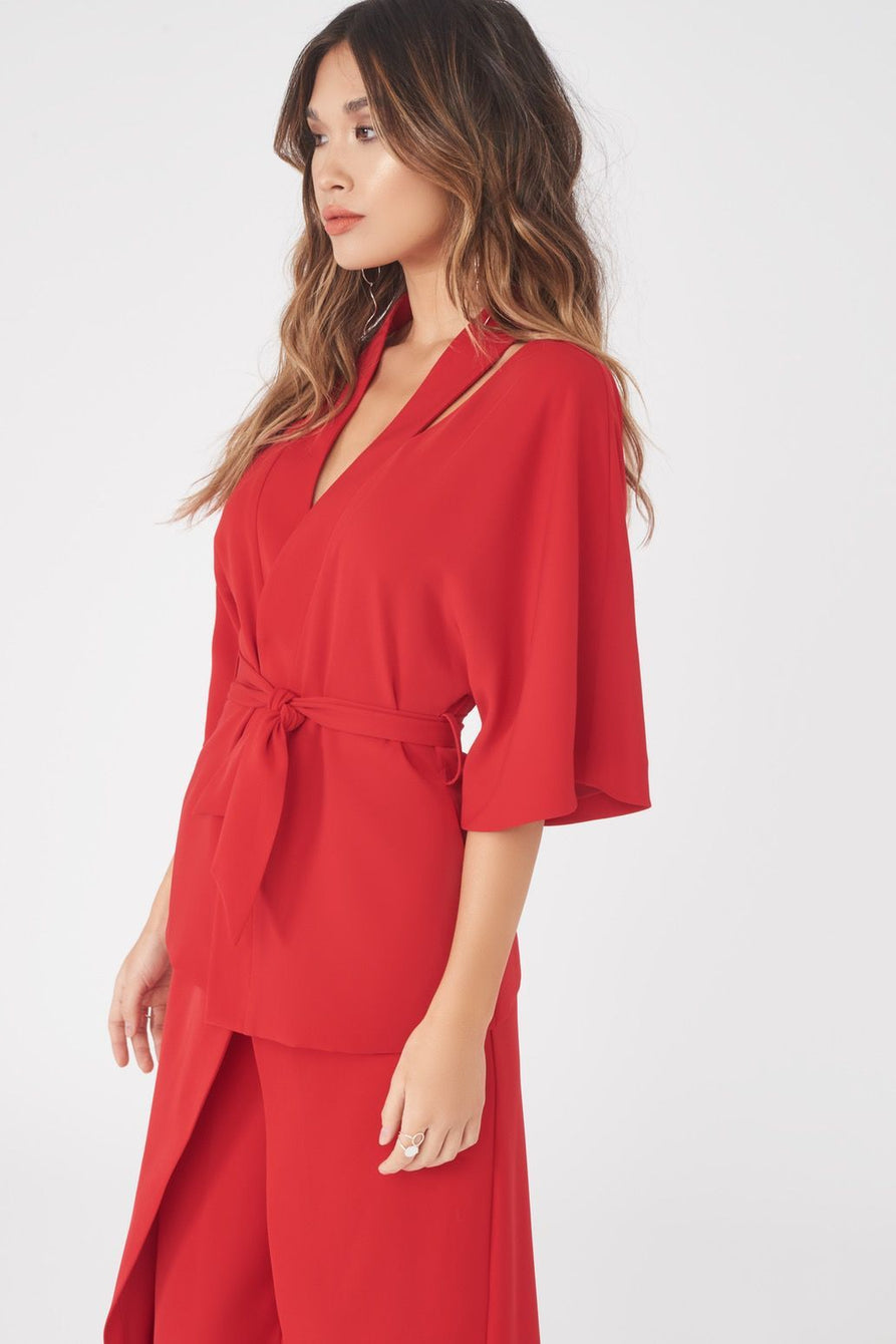 Cut Out Shoulder Kimono Jacket in Red