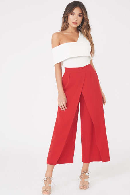 Wrap Over Culottes in Red