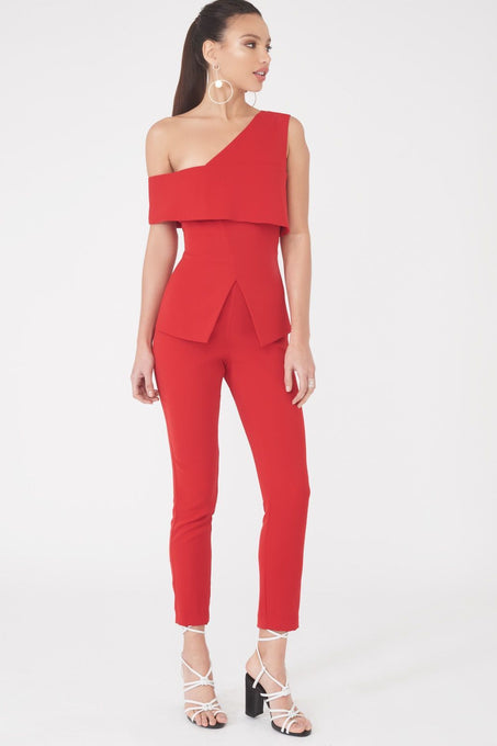 Asymmetric Cold Shoulder Jumpsuit in Red