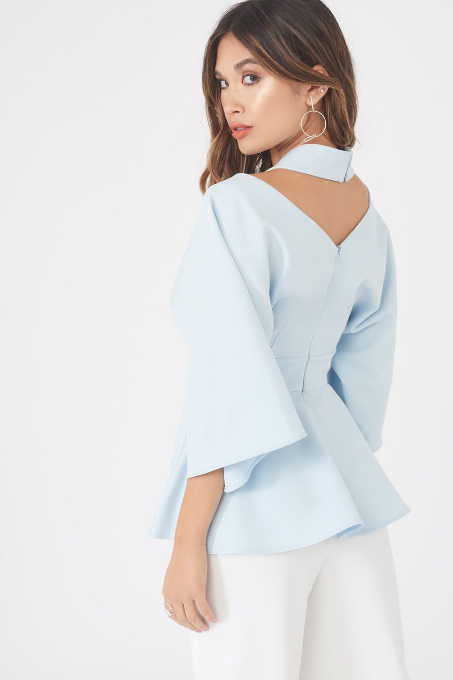 Cut Out Shoulder Kimono Top in Ice Blue