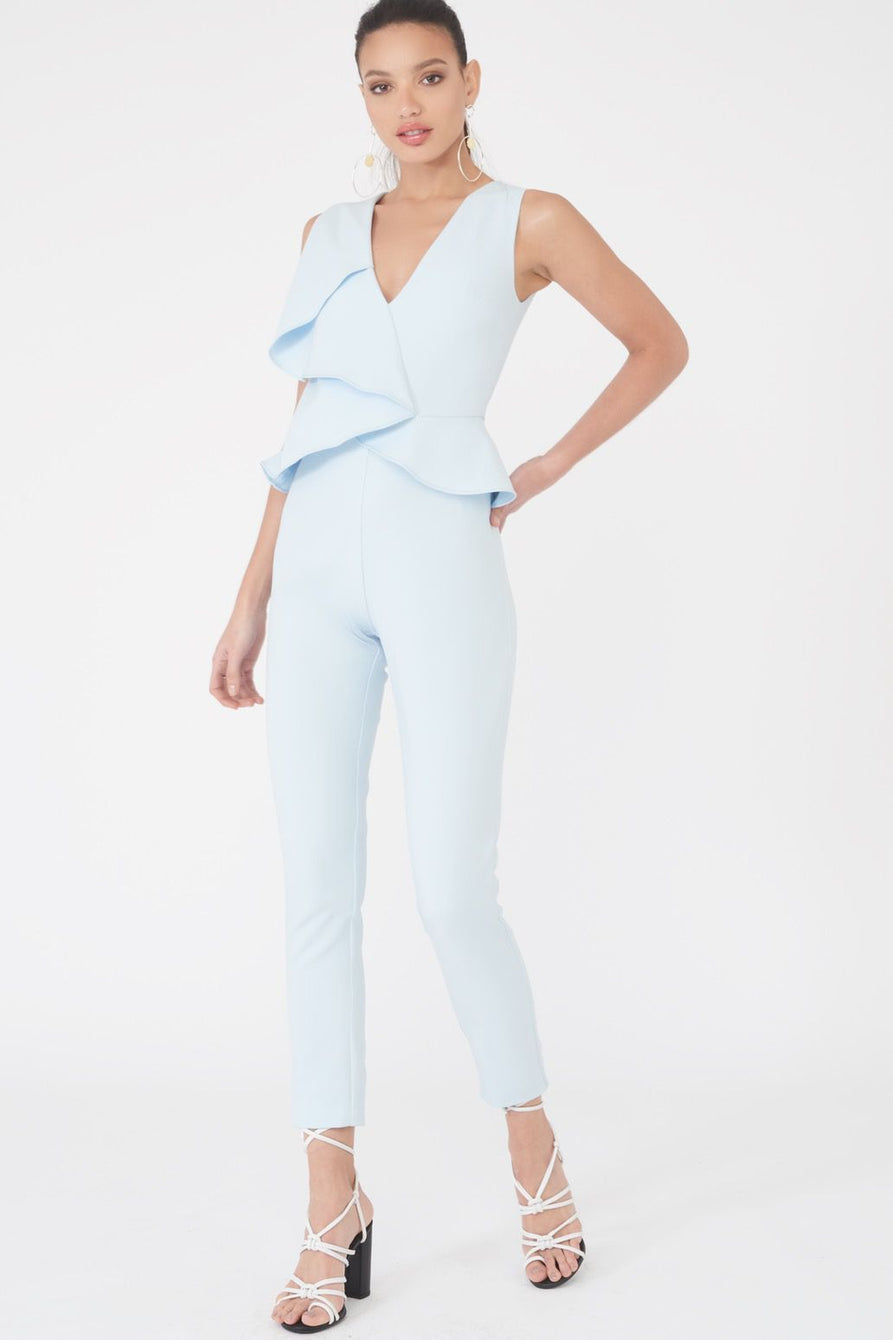 Origami Folder Peplum Jumpsuit in Ice Blue