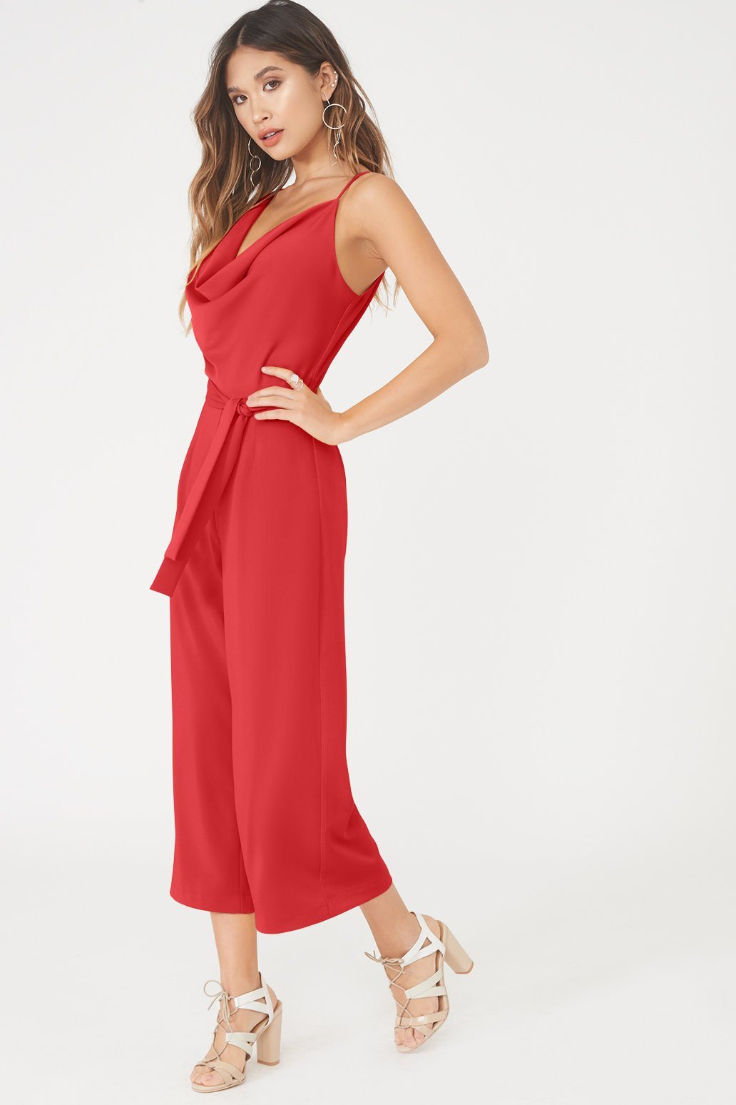Cowl Neck Culotte Jumpsuit In Red