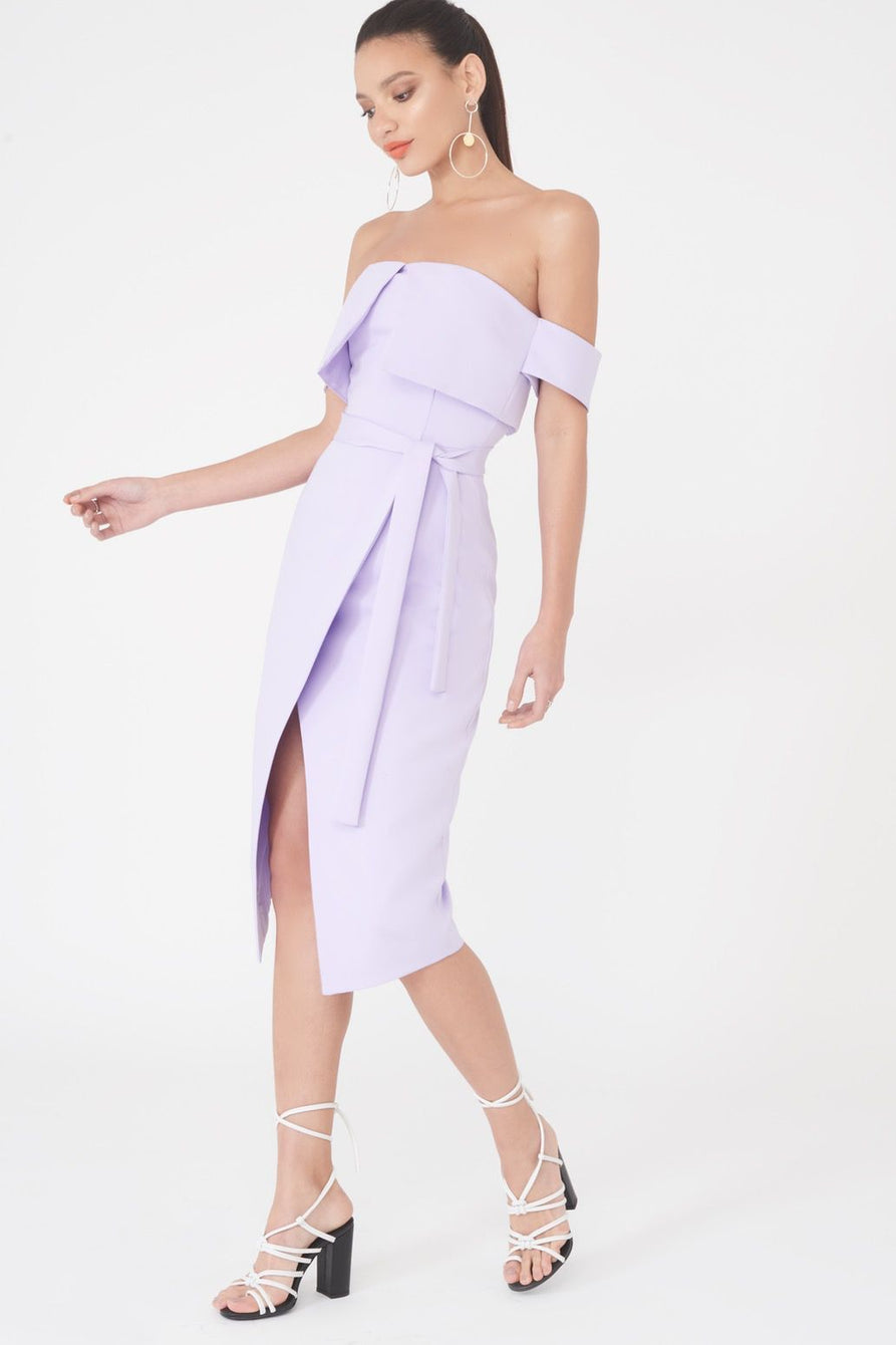 Double Layered Bardot Wrap Midi Dress