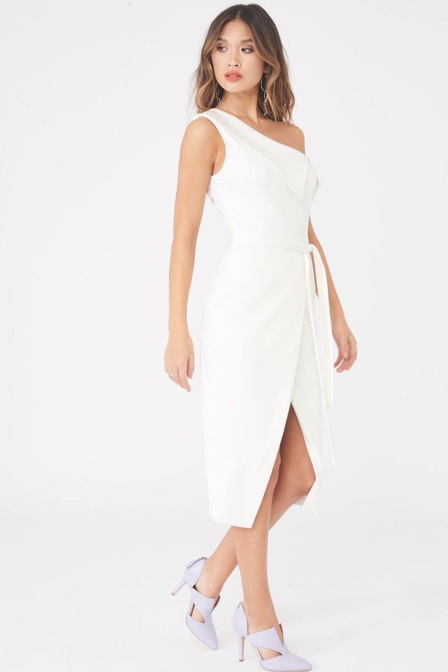 One Shoulder Wrap Midi Dress in White