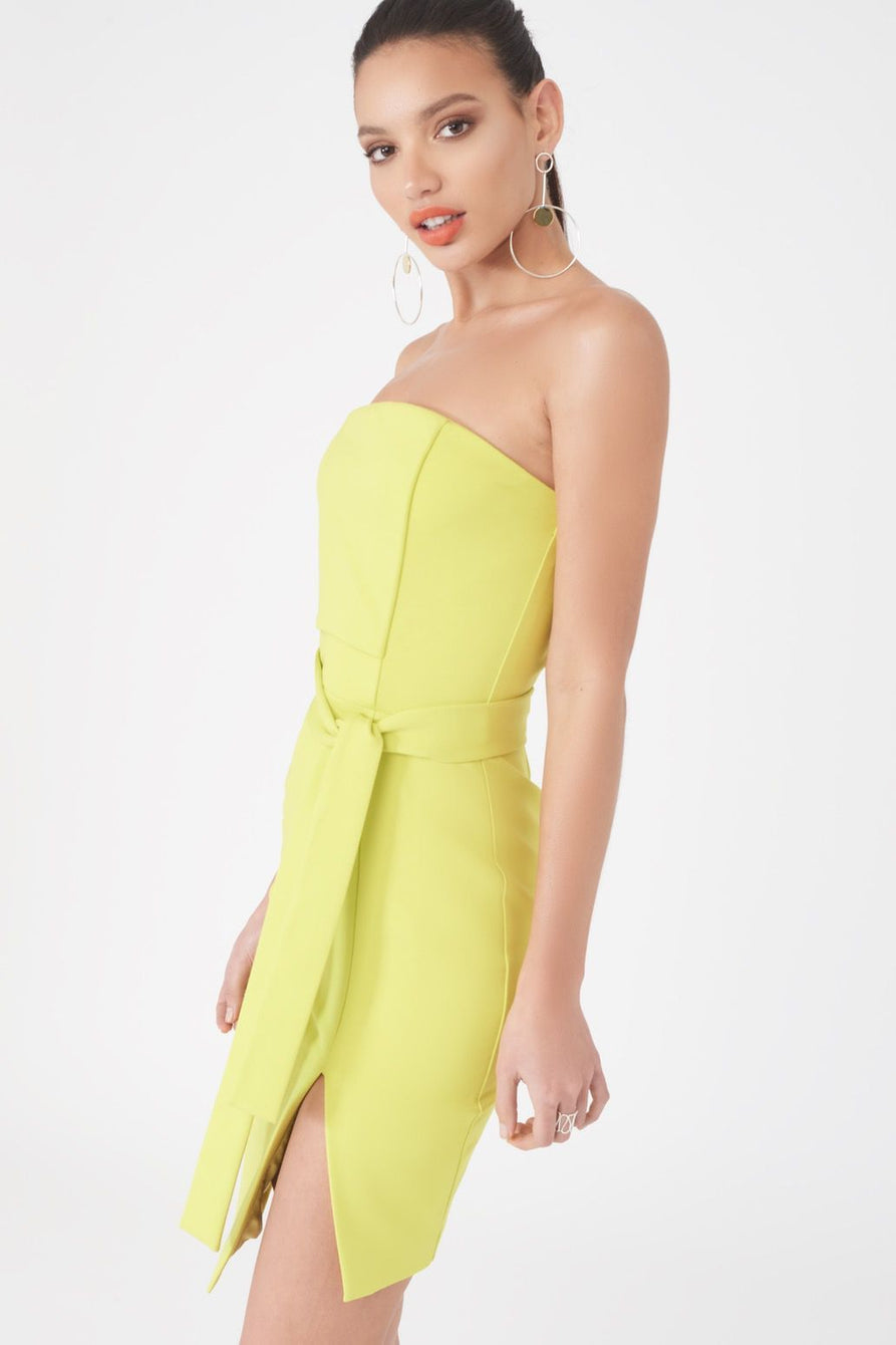 Ponte Asymmetric Bandeau Mini in Lime
