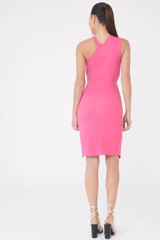 Panelled One Shoulder Asymmetric Dress in Bright Pink