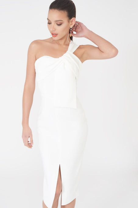 Twisted One Shoulder Midi Dress in White