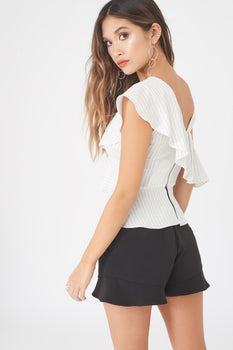 Pin Stripe Asymmetric Ruffle Top