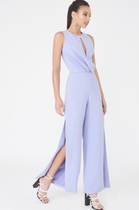 Draped Asymmetric Wide Leg Jumpsuit