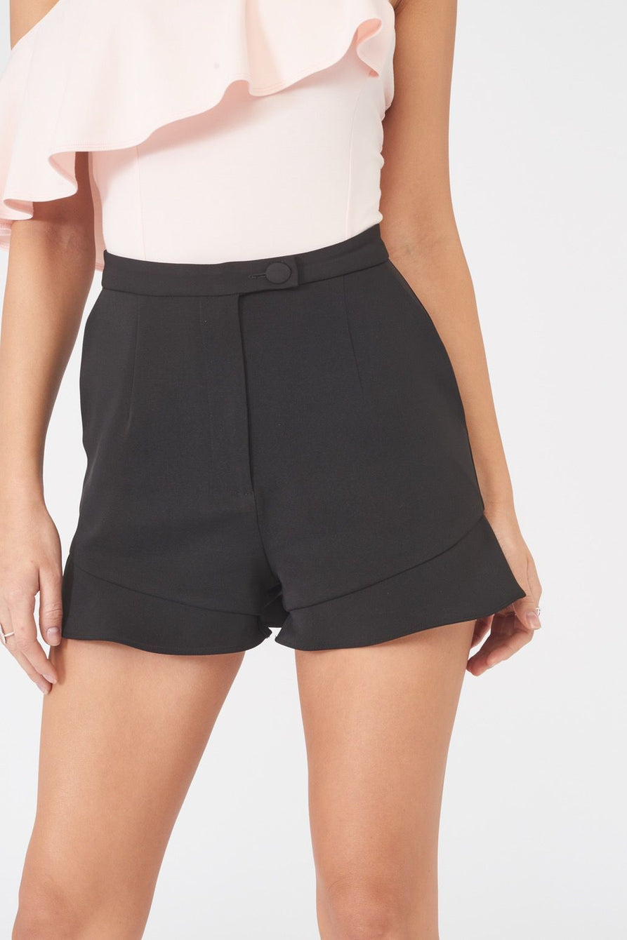 High Waisted Frill Hem Shorts in Black