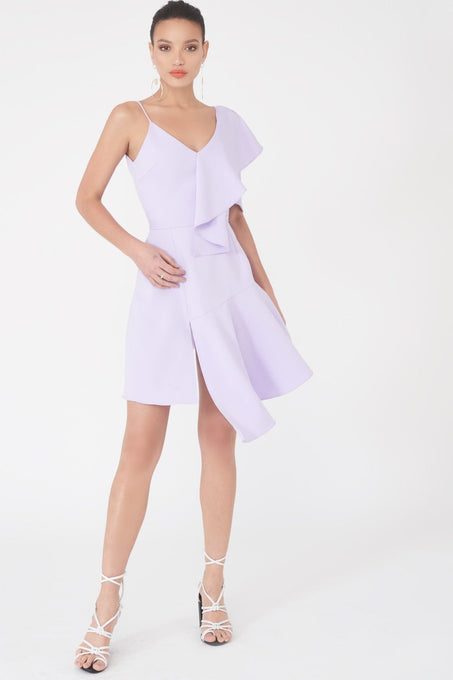 Draped Asymmetric Cami Mini Dress in Lilac