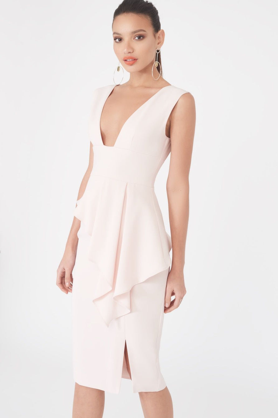 Asymmetric Plunge Front Midi Dress in Nude