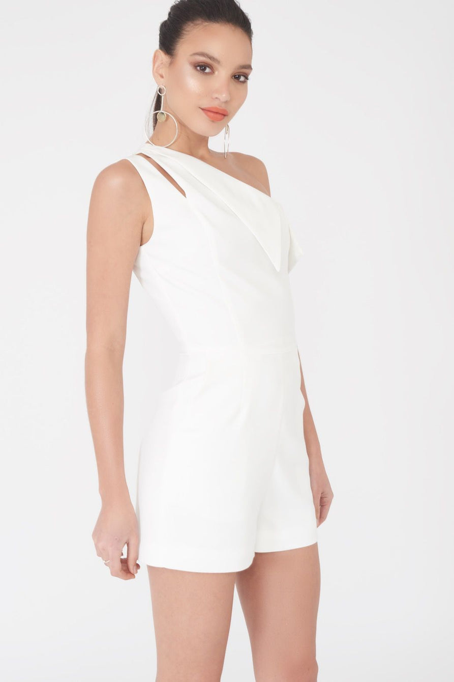 One Shoulder Playsuit in White