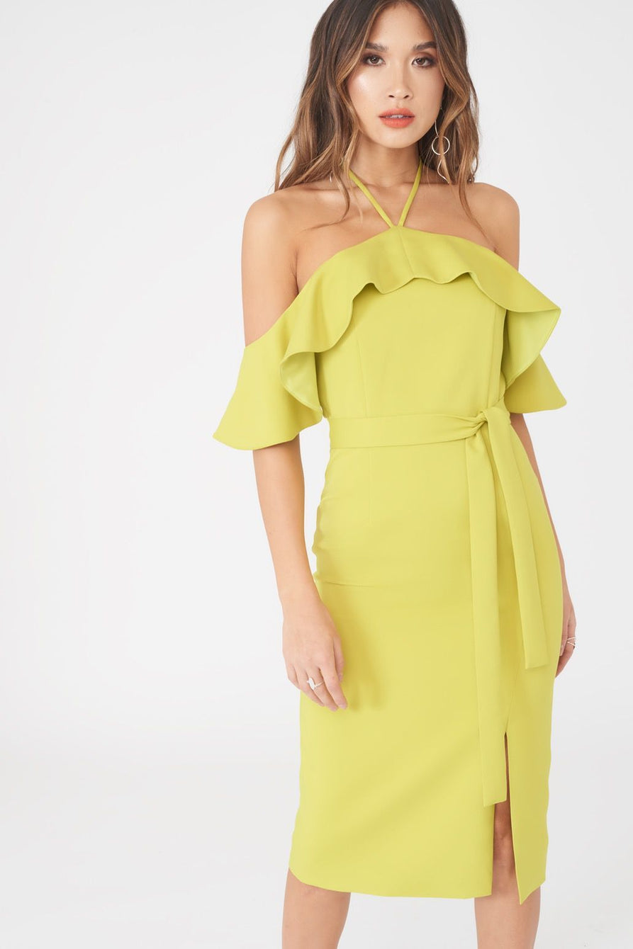 Bardot Draped Frill Midi Dress with Side Split in Lime