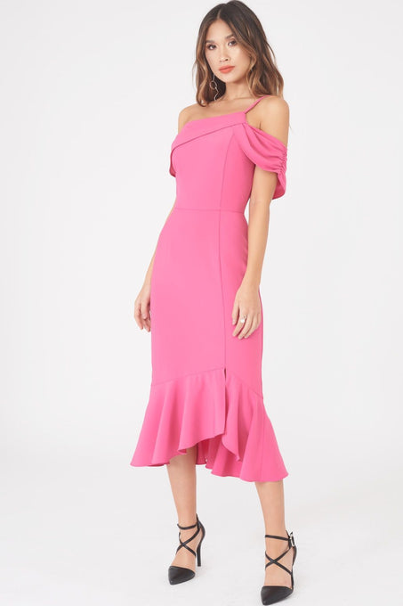 Satin One Shoulder Midi Dress in Bright Pink