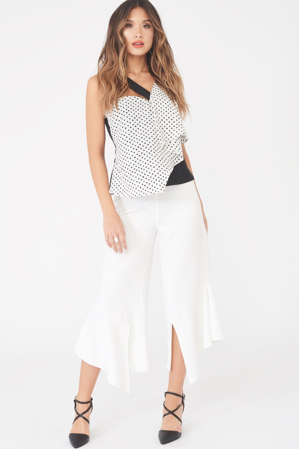 Draped Asymmetric Spot Top in Black & White