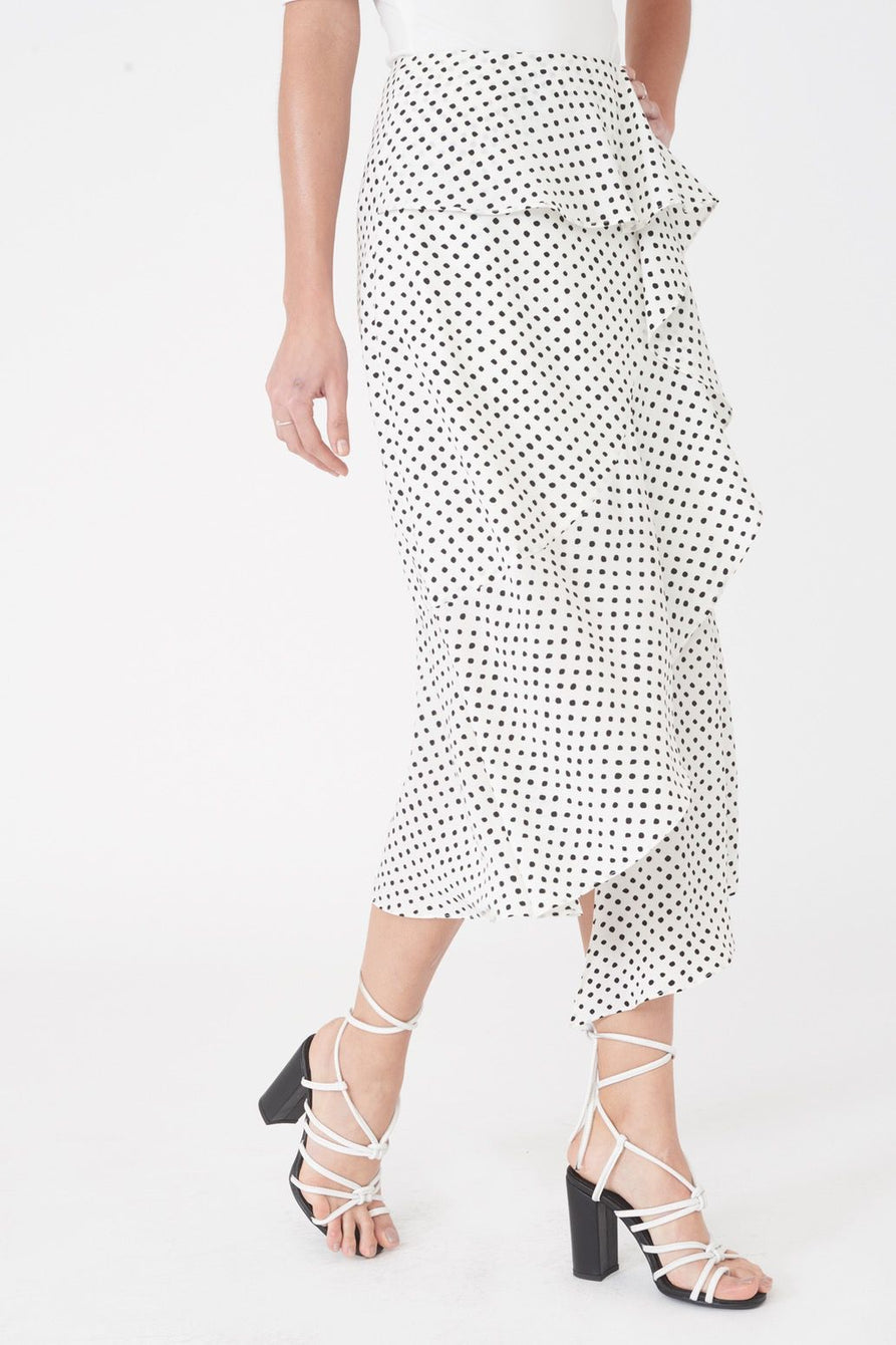 High Waisted Asymmetric Draped Frill Midi Skirt in Polka Dot