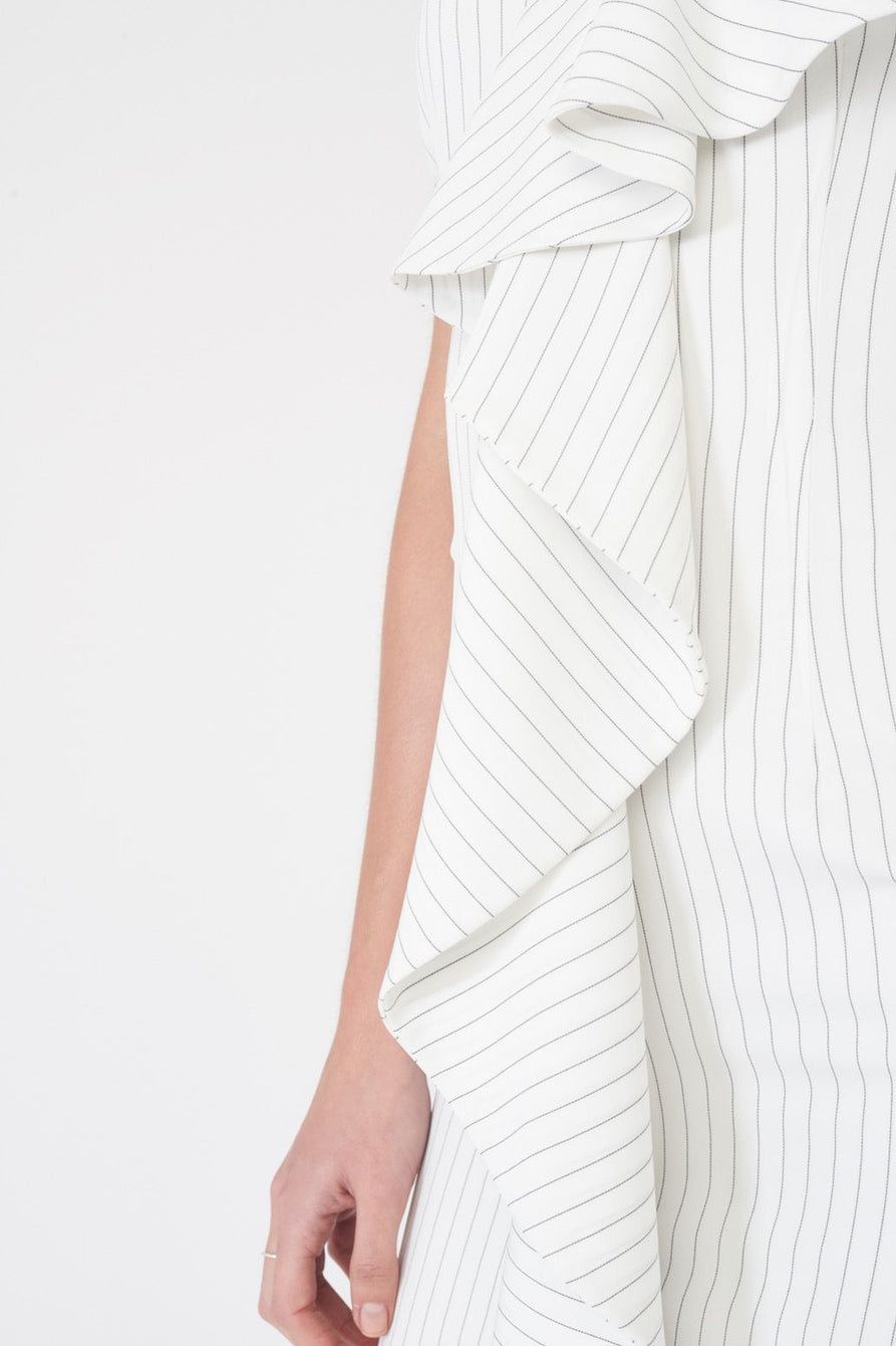 Pin Stripe Asymmetric Ruffle Mini Dress