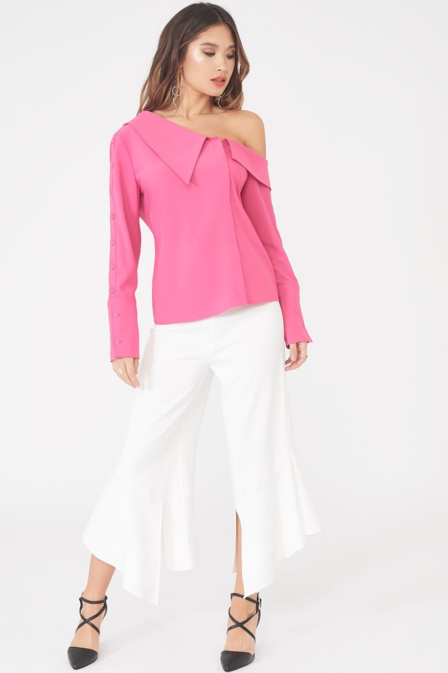 Asymmetric Pink Satin Shirt