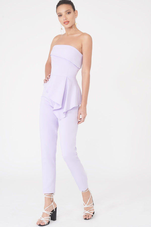 a5aa8b44bc4 Bandeau Asymmetric Tapered Leg Jumpsuit in Lilac ...
