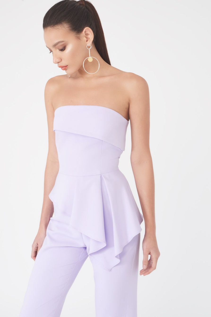 Bandeau Asymmetric Tapered Leg Jumpsuit in Lilac
