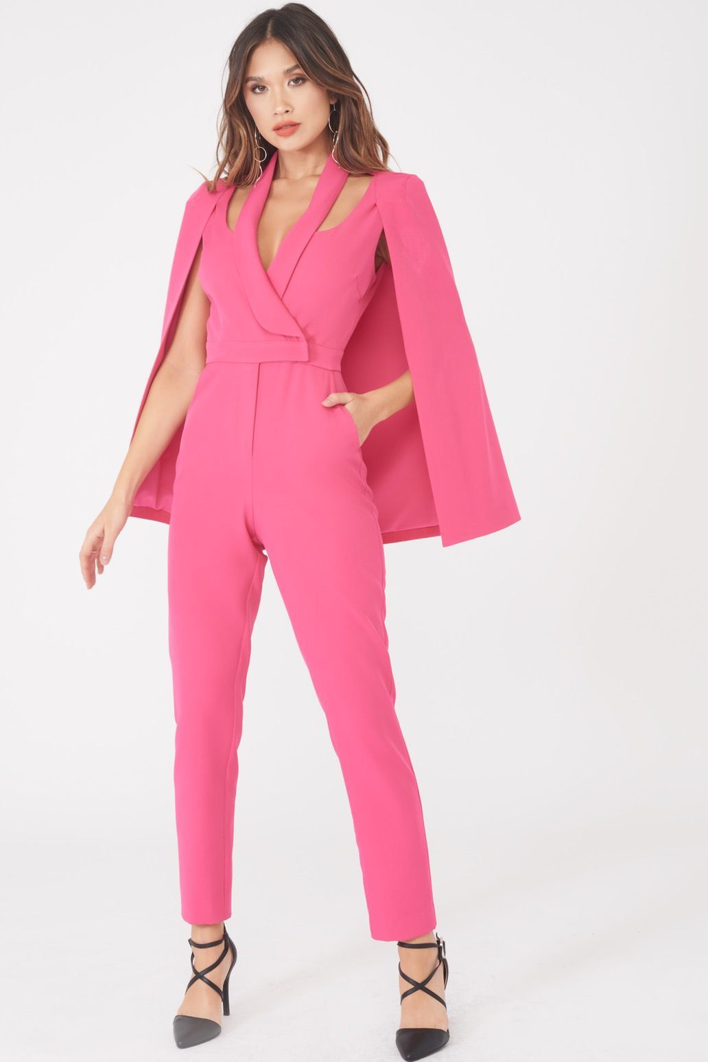 Signature Cape Blazer Jumpsuit in Bright Pink
