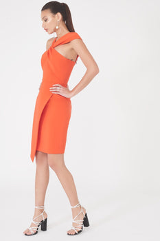 Asymmetric Twist Detail Dress in Orange