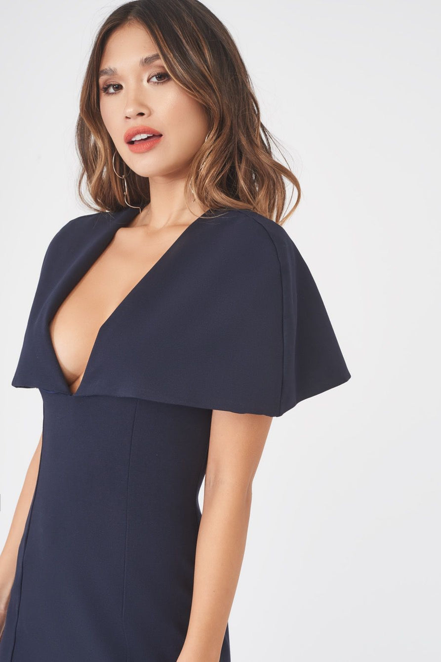 Plunge Front Caped Midi Dress in Navy