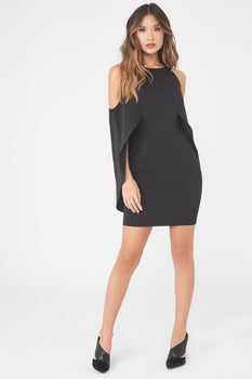 Cold Shoulder Draped Cape Mini Dress in Black