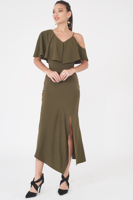 Asymmetric Off The Shoulder Dress in Khaki