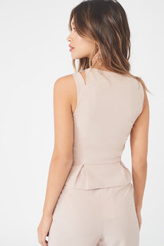 Cut Out Tailored Top with Metal Zipper in Nude