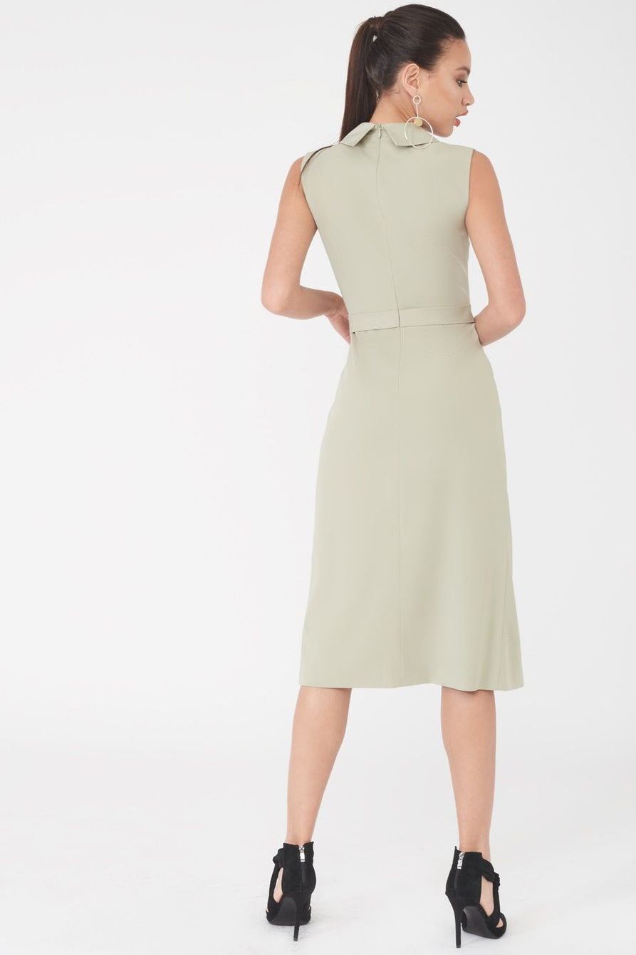 Sleeveless Tuxedo Midi Dress with Double Split Skirt in Sage Green