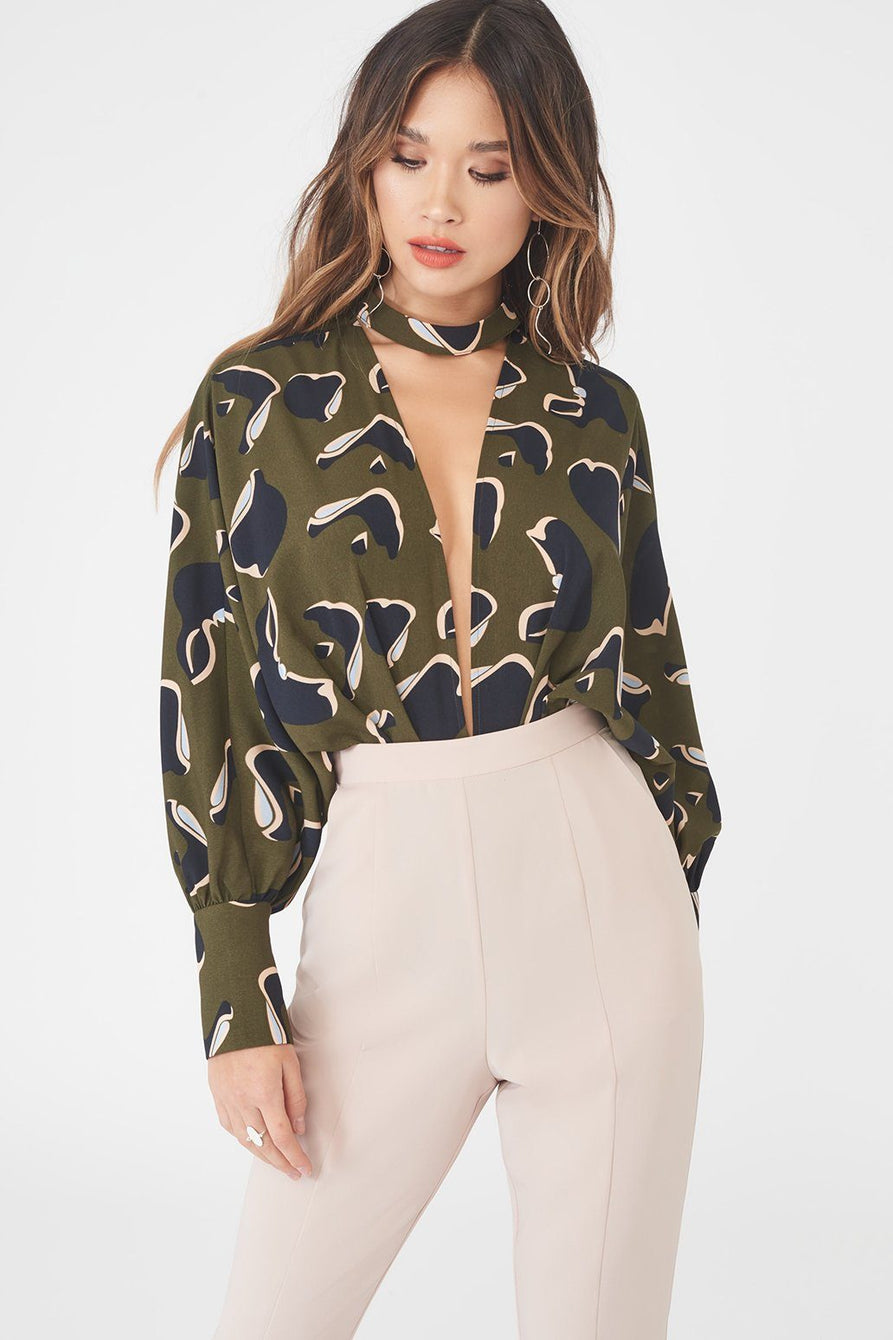 Signature Draped Plunge Front Bodysuit in Sage Green Floral Print