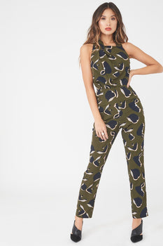 Pleated Halterneck Tailored Jumpsuit in Khaki Print