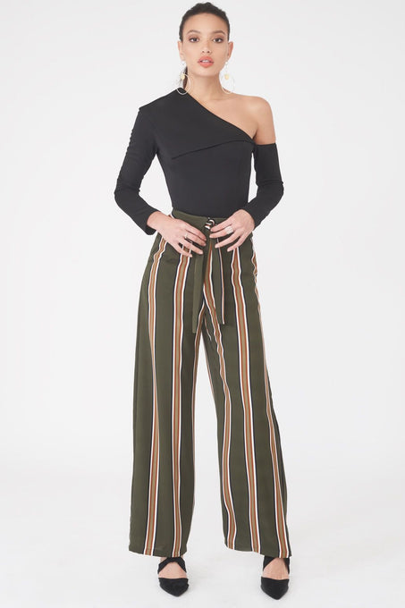 Folded Over Wide Leg Woven Trouser