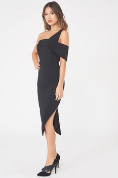 One Shoulder Detail Midi Dress in Black