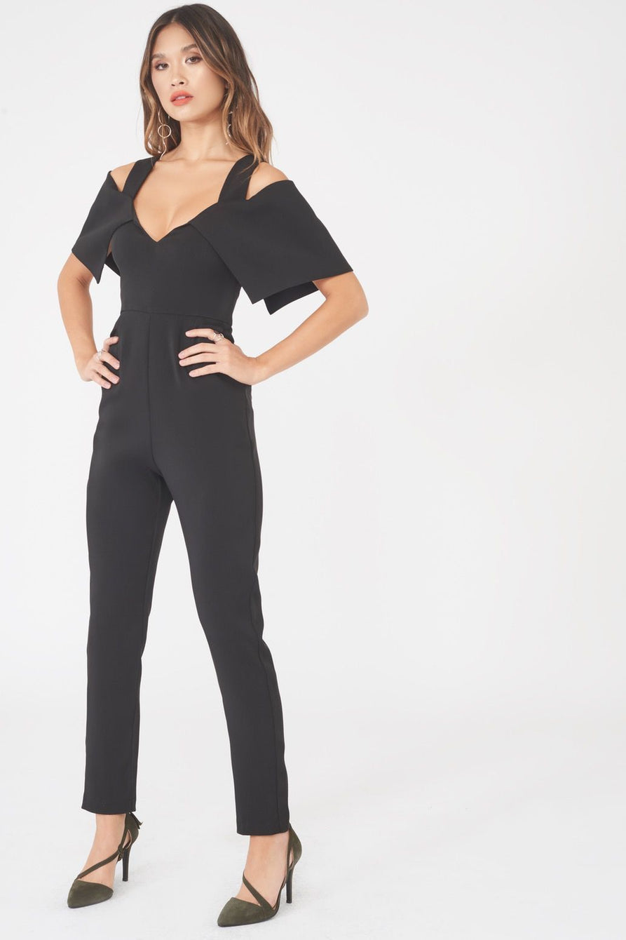 Folded Over Tailored Jumpsuit in Black