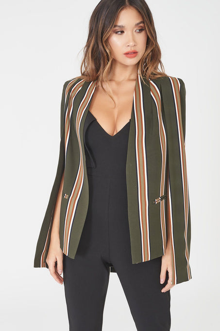 Classic Cape Blazer in Stripe Print